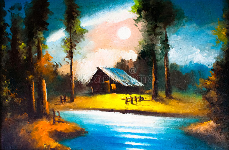 Old house oil painting royalty free stock photos