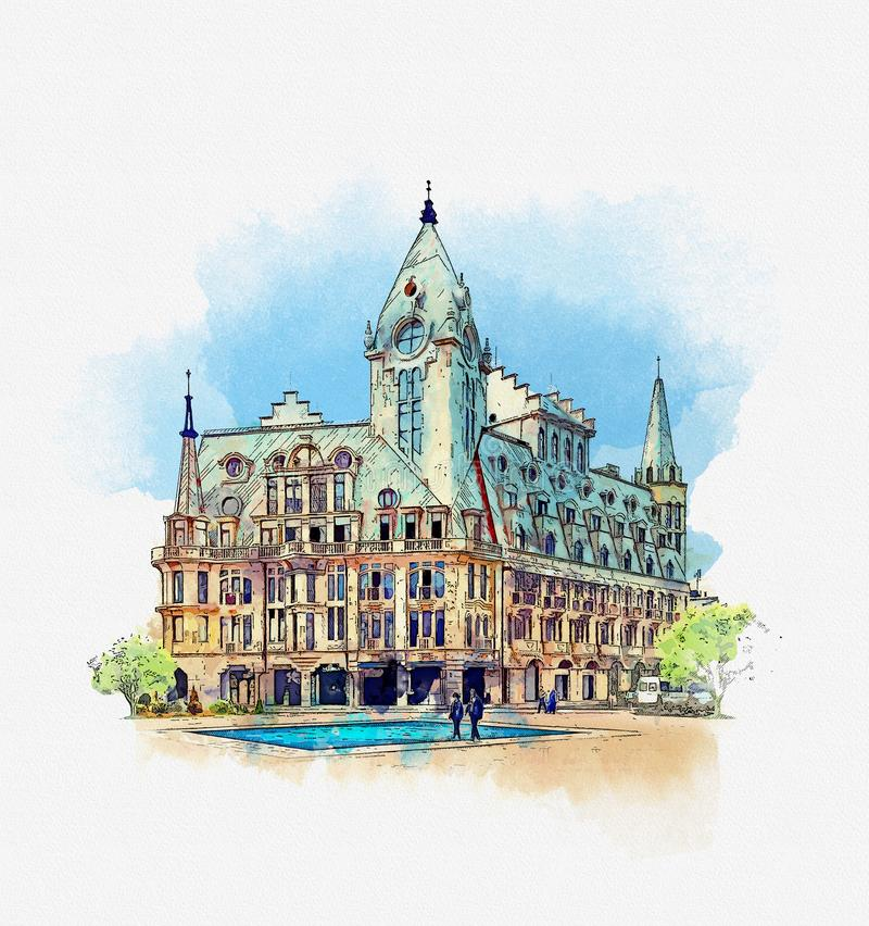 Free Old House On Europe Square, Batumi, Georgia. Watercolor Sketch Stock Photography - 130490962