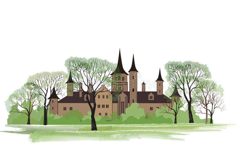 Old house in park. Spring landscape with ancient castle stock illustration