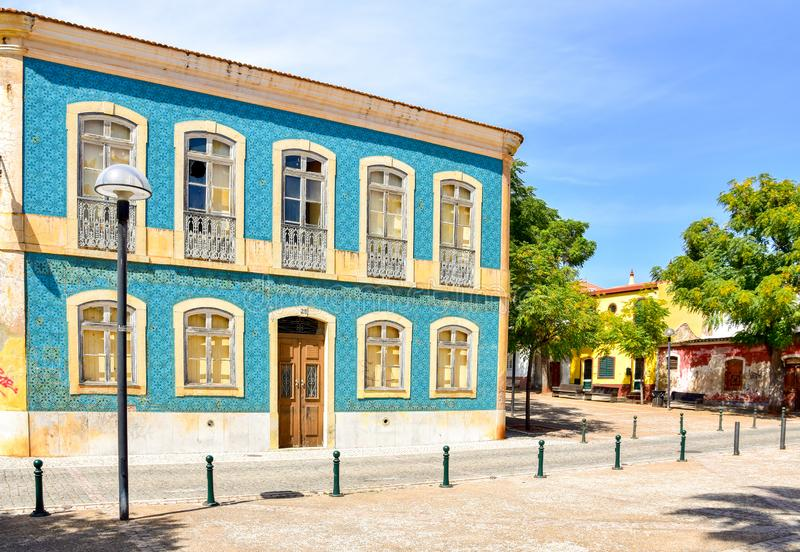 Old house in Portugal with painted glazed ceramic tiles stock photography