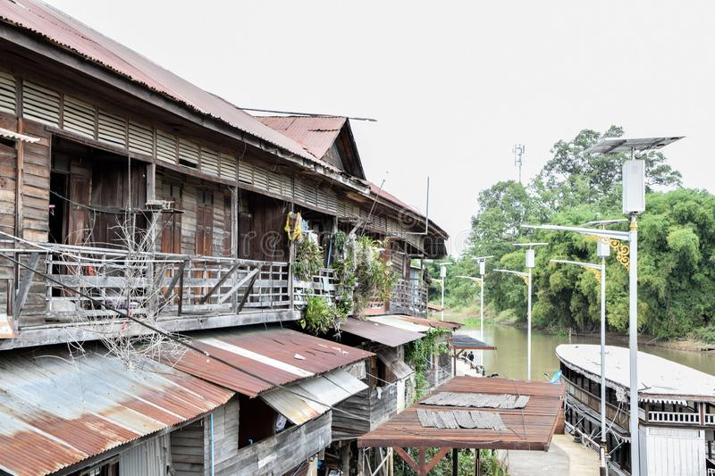 Old House of the River bank. In Countryside at Thailand stock photography