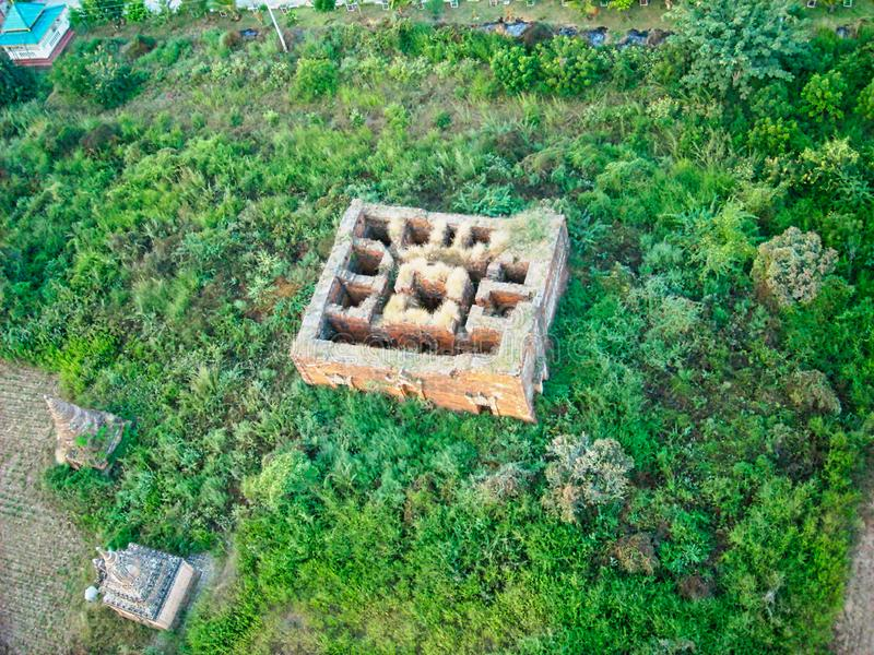 an old house ruin from above stock photography