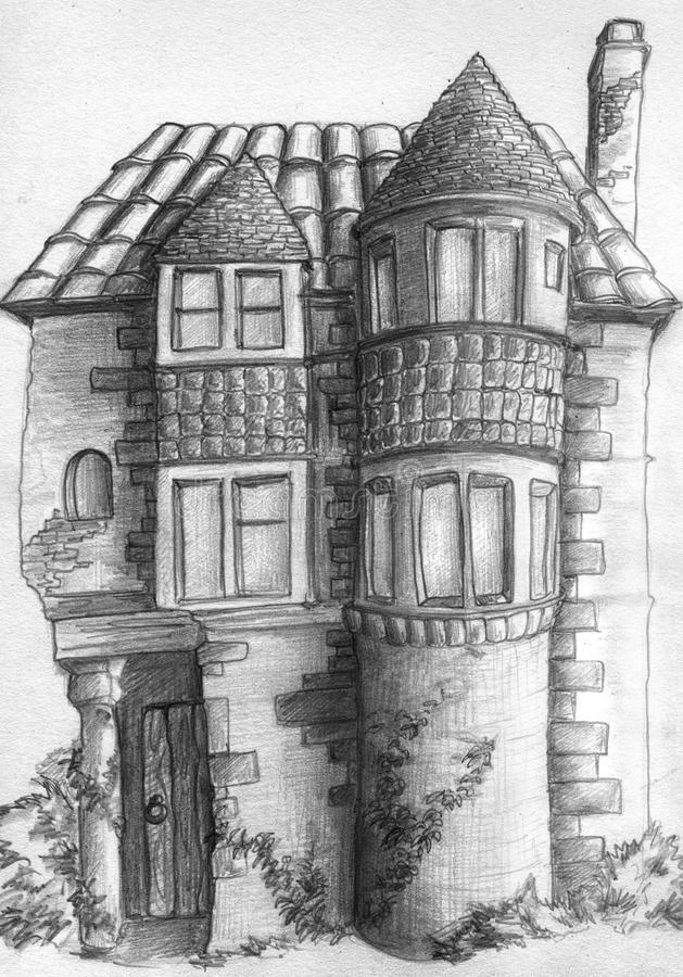 Old house sketch. Pencil drawn sketch of the old house. Nice piece of architecture with tower-like structures and windows of different sizes stock illustration