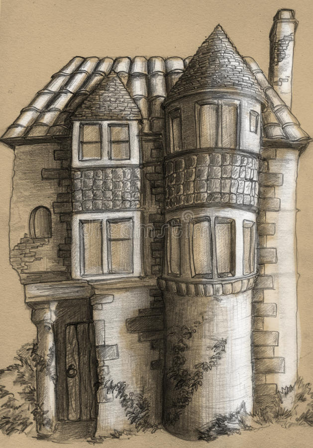 Old house sketch. Pencil drawn sketch of the old house. Nice piece of architecture with tower-like structures and windows of different sizes vector illustration