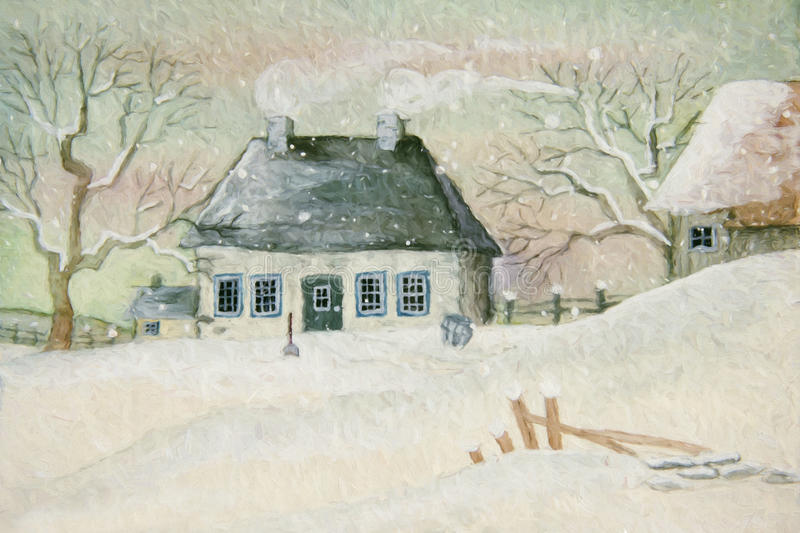Old house in the snow vector illustration