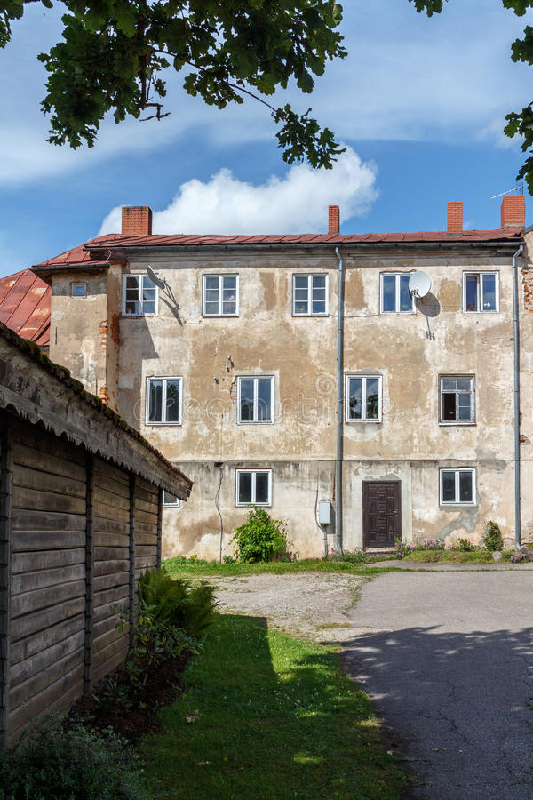 Old house in Talsi, Latvia, street view. Talsi is administrative centre of the whole Kurzeme region - green pearl of Courland royalty free stock image