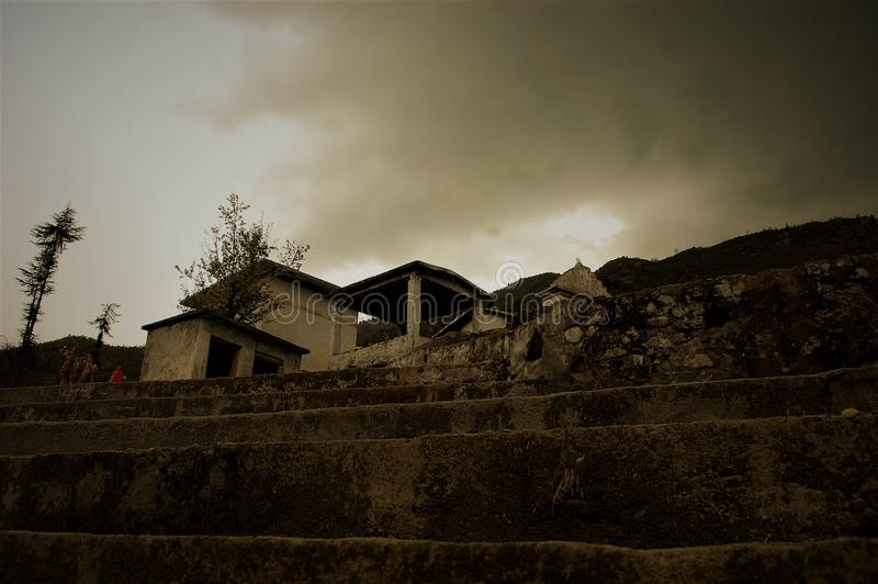 Old house or Temple Landscape. Looking likes hunter stock image