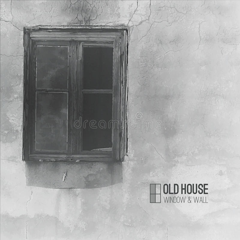 Old house. Vector background of old house, grunge window and wall in grayscale royalty free illustration