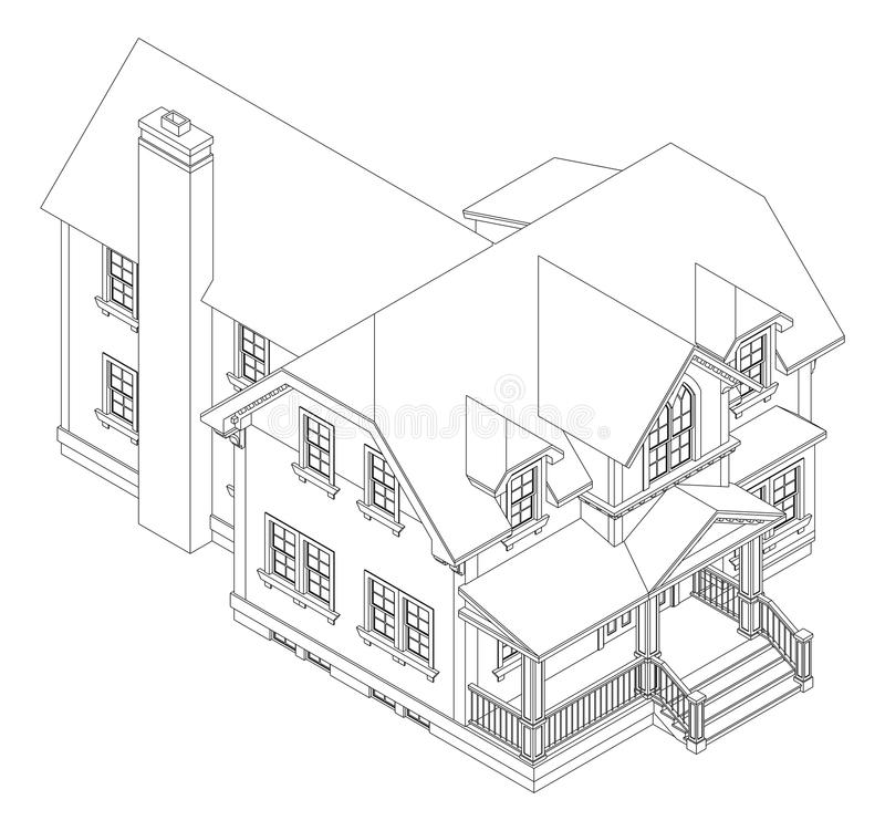 Old House In Victorian Style. Illustration On White Background ...