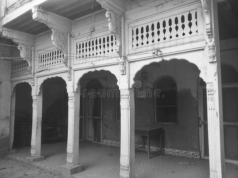 House. This is a old house which is build in indian style house at shikarpur, sindh Pakistan stock photos