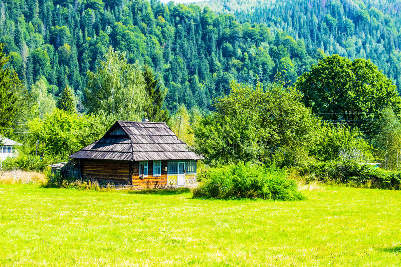 Old house with a wooden roof stock photo