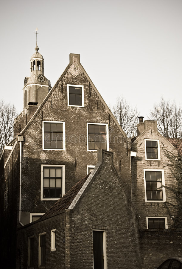 Old houses. With historic church in the backgtound royalty free stock images