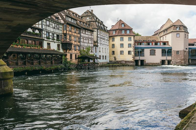 Old houses along the river royalty free stock photography