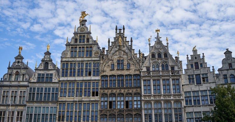 Old houses in Antwerp Belgium. Old historic houses in Antwerp Belgium With golden statues stock photo