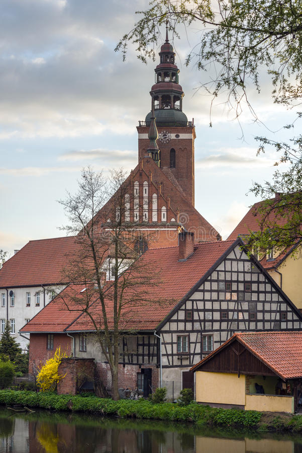 Old houses and church tower in Lidzbark Warminski. Antique houses and church tower in Lidzbark Warminski, Warmian-Masurian Voivodeship, Poland stock photography