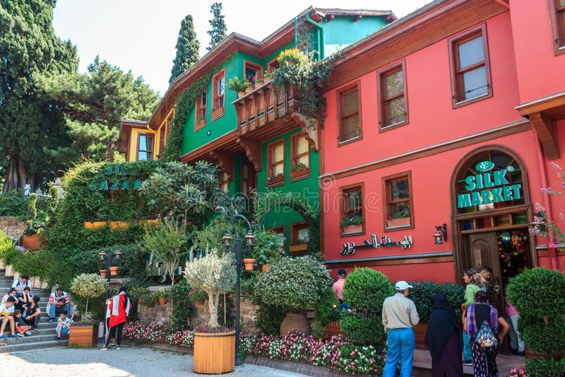 Bursa/Turkey - September 4, 2019: Historical colorful houses district in Bursa. Bursa/Turkey - September 4, 2019: Tourists are travelling in old historical royalty free stock photos