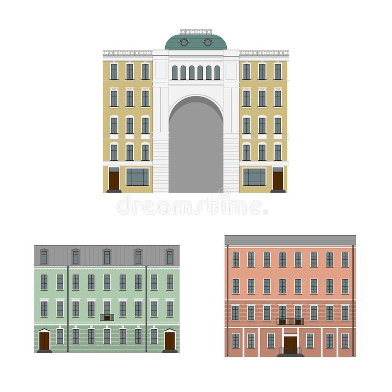 Old houses of the European city. Set of elements. Illustration. Vector. EPS 10 vector illustration