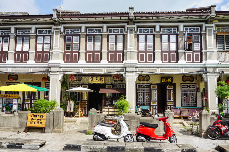 Old houses at Georgetown in Penang, Malaysia royalty free stock photo