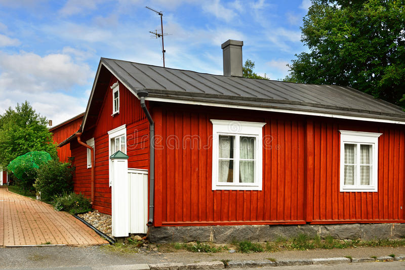 Old houses in historic quarter Neristan. Kokkola, Western Finland stock photography