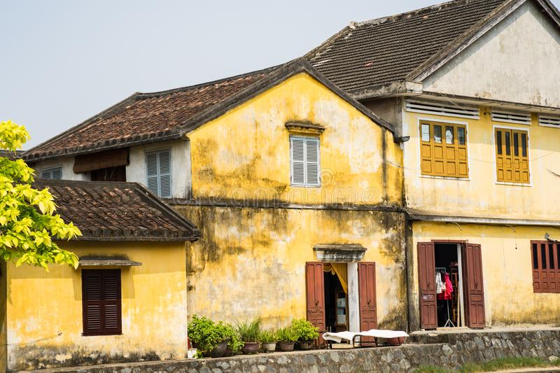 Old houses in Hoi An ancient town, Quang Binh province, Vietnam. Hoi An is UNESCO site royalty free stock image