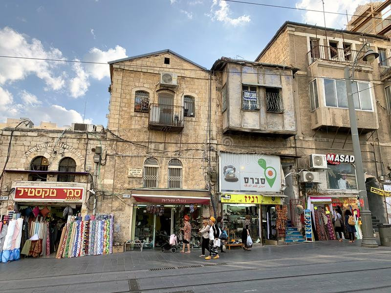 Old houses on Jaffa street in Jerusalem stock photos