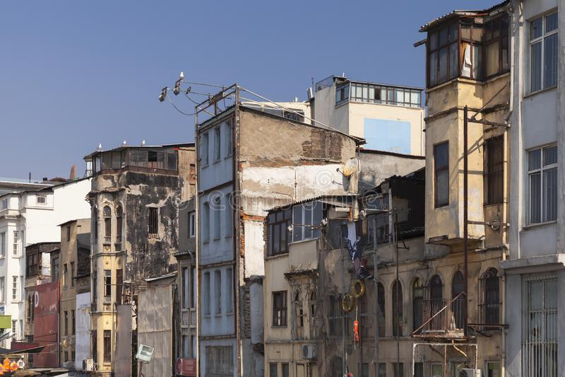 Old houses of Karakoy, Istanbul, Turkey. Istanbul, Turkey - July 1, 2016: Old houses of Karakoy, Beyoglu district of Istanbul, Turkey stock images