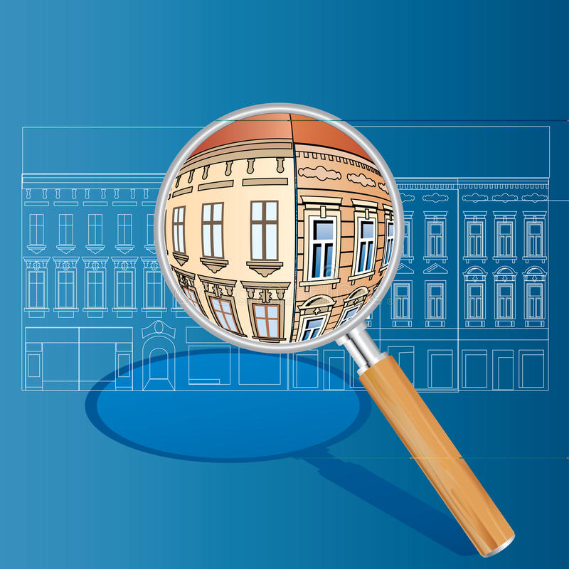 Old houses magnify. Vector blueprint with color magnify vector illustration