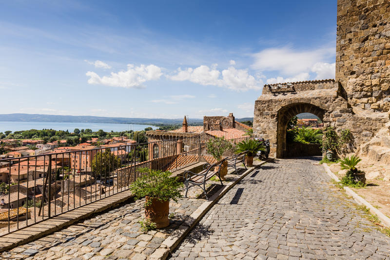 Old houses in medieval town Bolsena, Italy. Old buildings in medieval town Bolsena, Italy royalty free stock photography