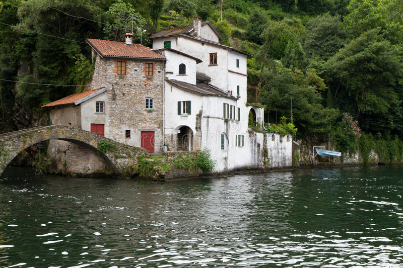Old houses near Nesso village at lake Como, Italy stock image