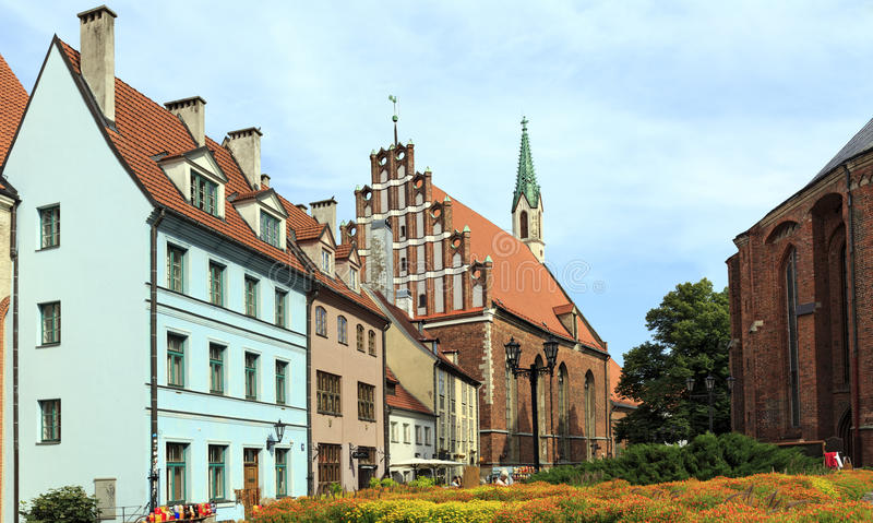 Old houses near St. Peter's Church. Riga, Latvia. stock photos