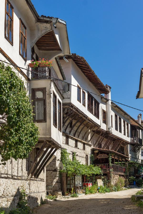 Old houses from the nineteenth century in town of Melnik, Blagoevgrad region, Bulgaria royalty free stock image