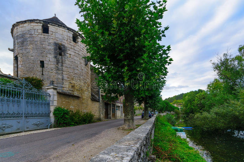 Old houses, Noyers-sur-Serein. Old houses, and towers of the old wall in the medieval village Noyers-sur-Serein, Burgundy, France stock images