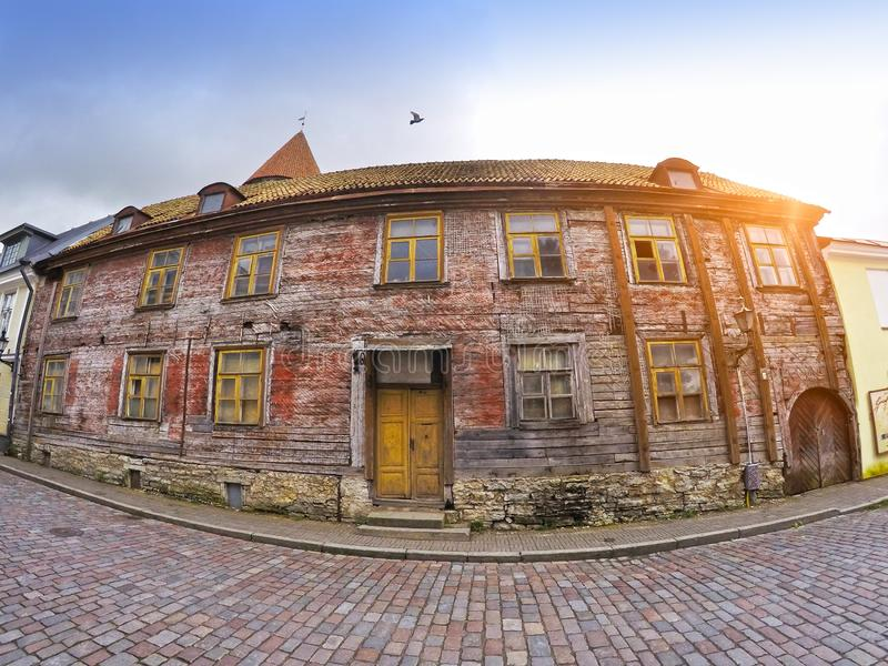 Old houses on the Old city streets. Tallinn. Estonia. stock images
