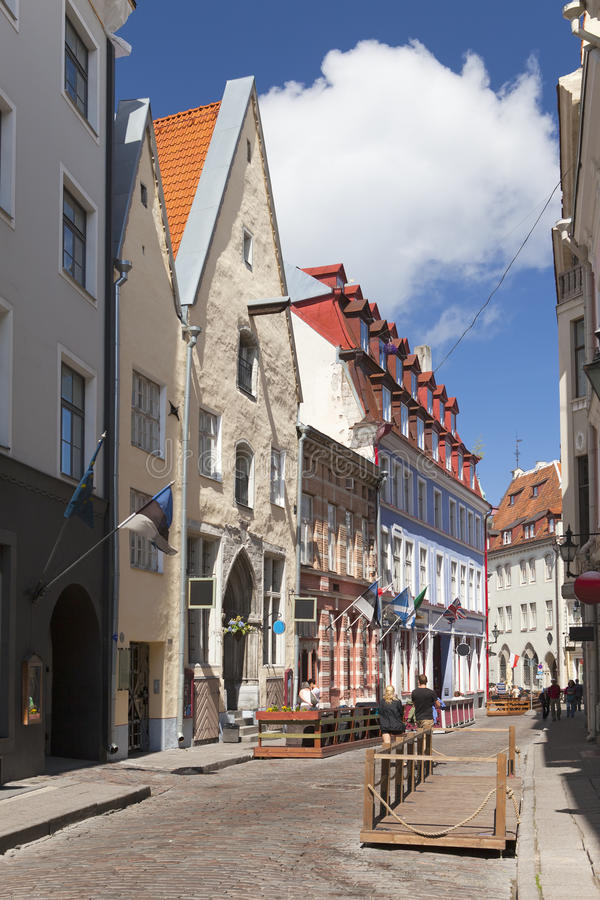 Old houses on the Old city. Tallinn. Estonia stock photo