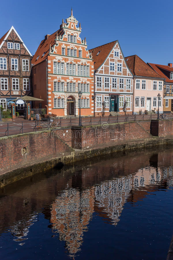 Old houses with reflection in the water in Stade royalty free stock photo