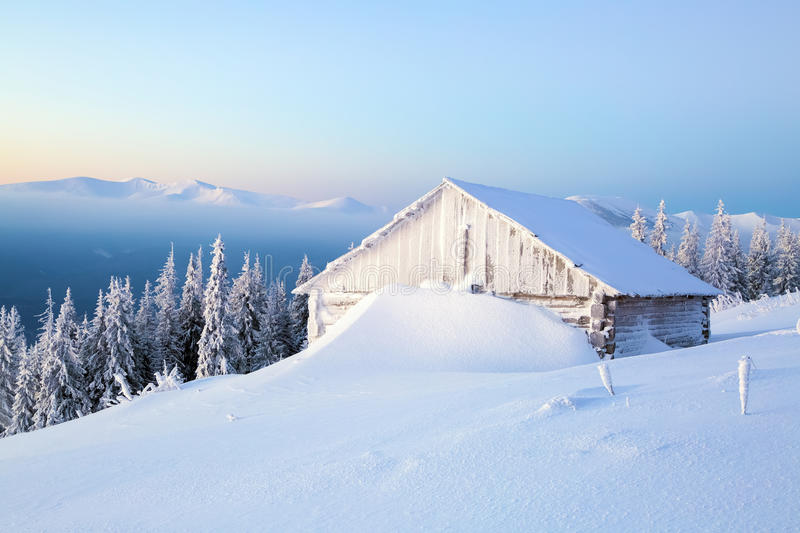 The old houses for rest for cold winter morning. stock images
