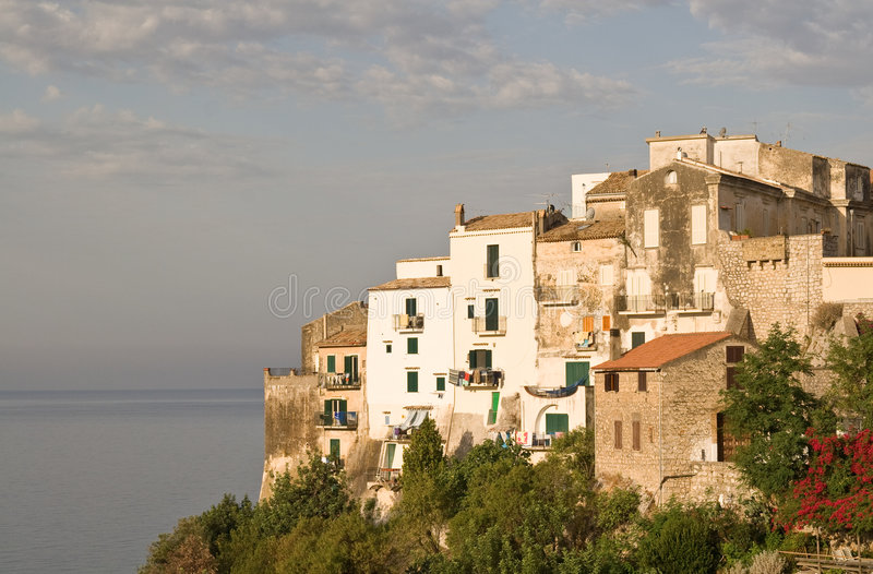 Old houses at the sea stock image