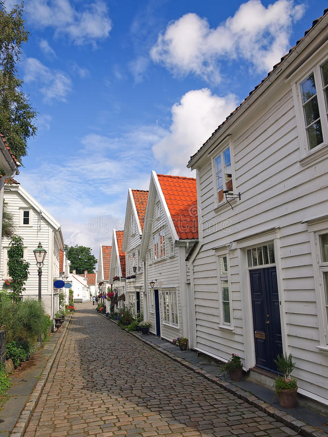 Old houses in Stavanger, Norway. royalty free stock photography