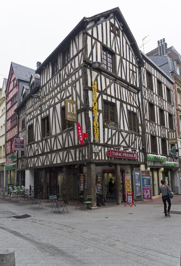 Old houses in the tourist center of Rouen, France. stock photography