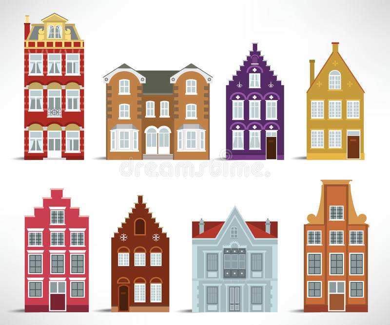 8 old houses. Vector illustration of 8 old houses royalty free illustration
