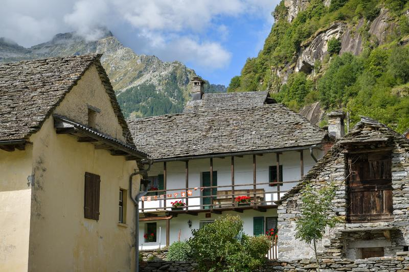 Old houses in village of Sonogno in Val Verzasca in canton of Ticino royalty free stock images