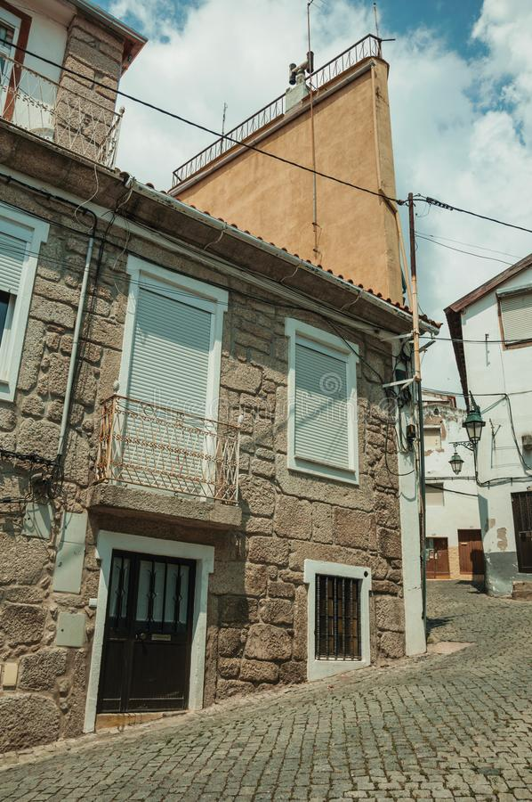 Free Old Houses With Stone Wall In A Deserted Alley Royalty Free Stock Photo - 145700855