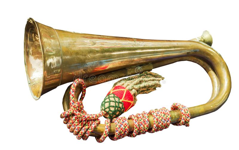 Old hunting horn stock image
