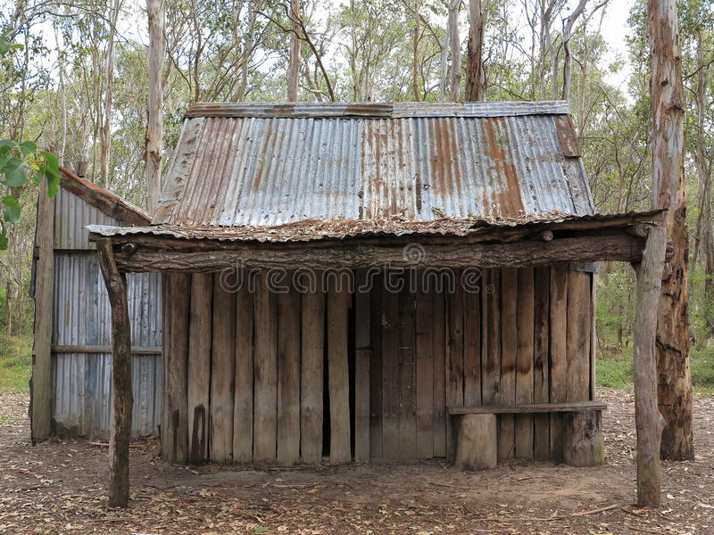 Simple cabin desolate in Australian forest royalty free stock photos