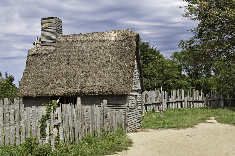 Old hut used by the first immigrants coming with the Mayflower in 17th century. A visit to Plimoth plantation is well worth the time stock photo