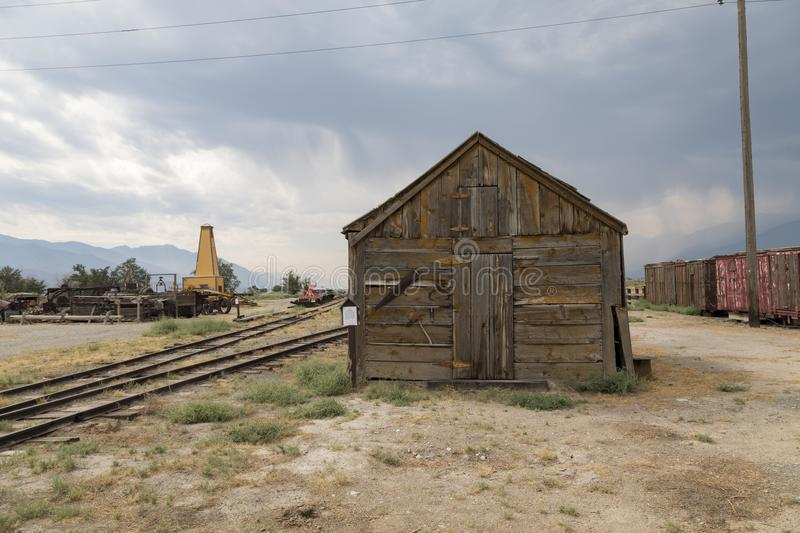 Old Ice House. Building located at Laws railroad museum near Bishop in California royalty free stock image
