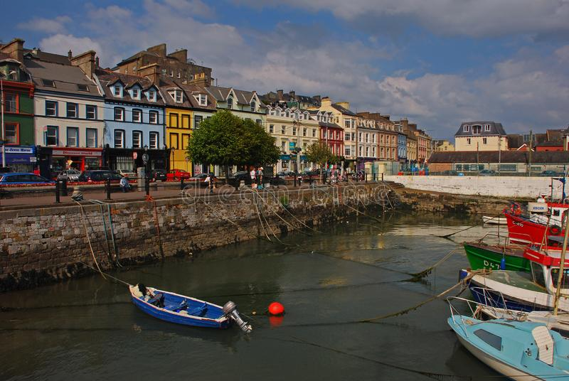 The old iconic waterfront colourful shophouses at Cobh, Republic of Ireland stock photography