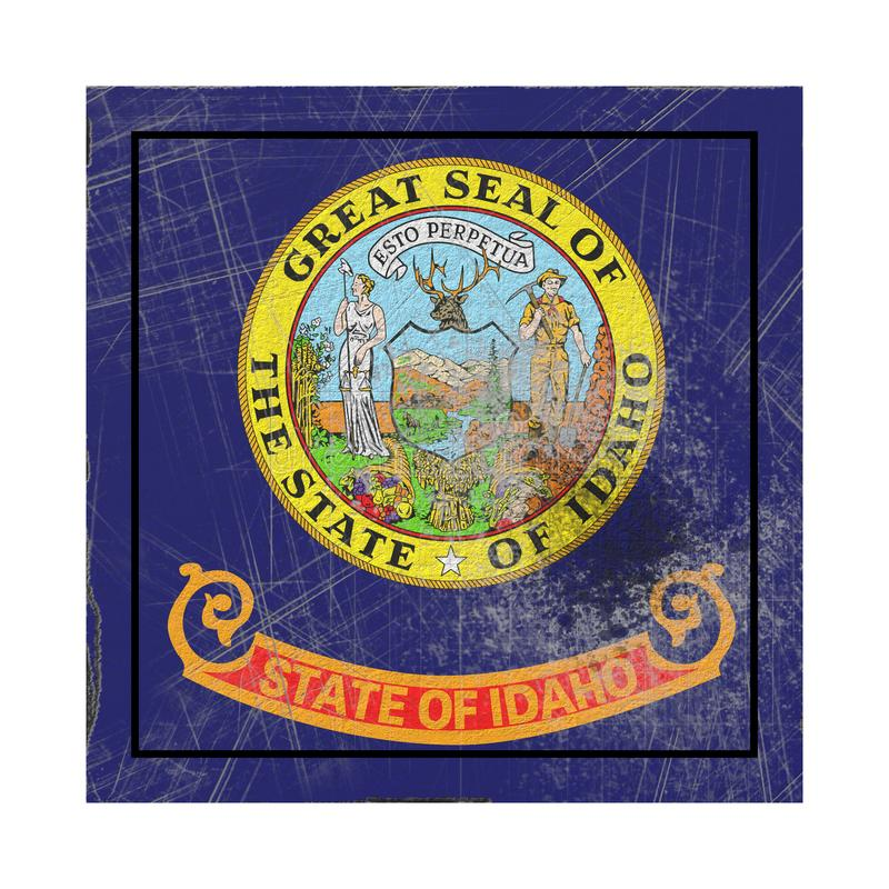Old Idaho State flag. 3d rendering of an Idaho State flag on a rusty surface royalty free illustration
