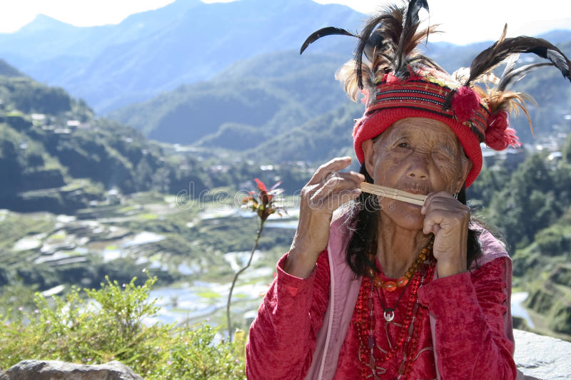 Old ifugao woman rice terraces philippines stock image