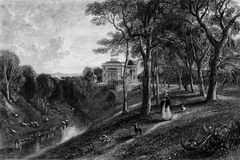 Old Illustration of Historic Landscape of Lowland Scotland. Early nineteenth century engraving of Coilsfield estate, showing historic Montgomery Castle stock illustration